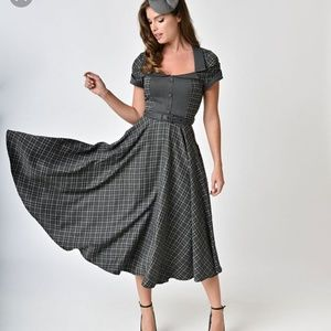 Voodoo Vixen Ella dress in grey tartan plaid